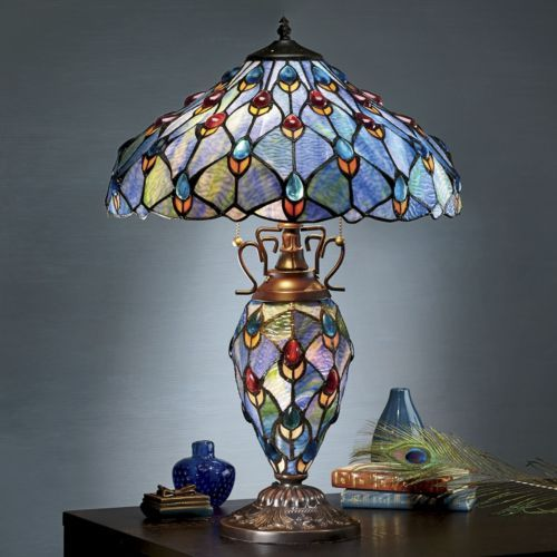 Coloured glass · stained glass peacock lamp from seventh avenue