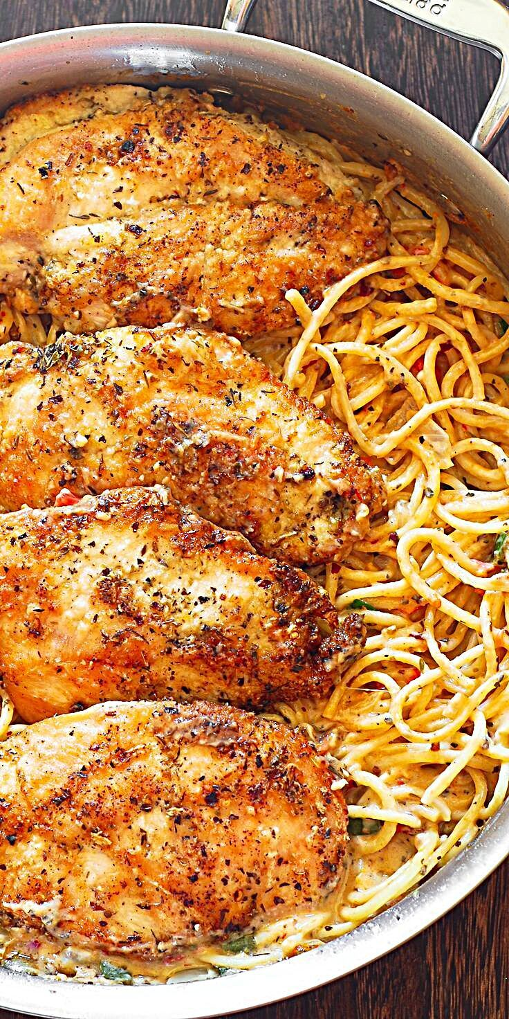 Photo of Chicken Pasta in Creamy White Wine Parmesan Cheese Sauce