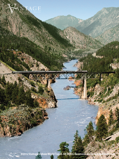 The Rocky Mountaineer crossing over a bridge and river in #Canada. #travel