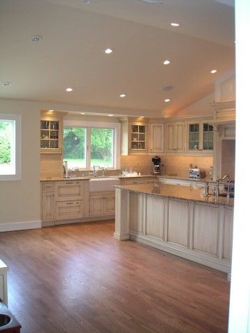 Vaulted kitchen ceiling with transom window above sink for Vaulted ceiling lighting solutions