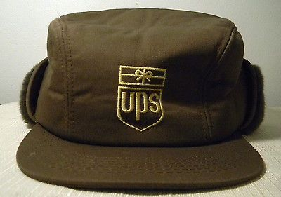 (UPS) UNITED PARCEL SERVICE...VINTAGE LOGO... WINTER HAT WITH EAR FLAPS. 2a7097cb21a
