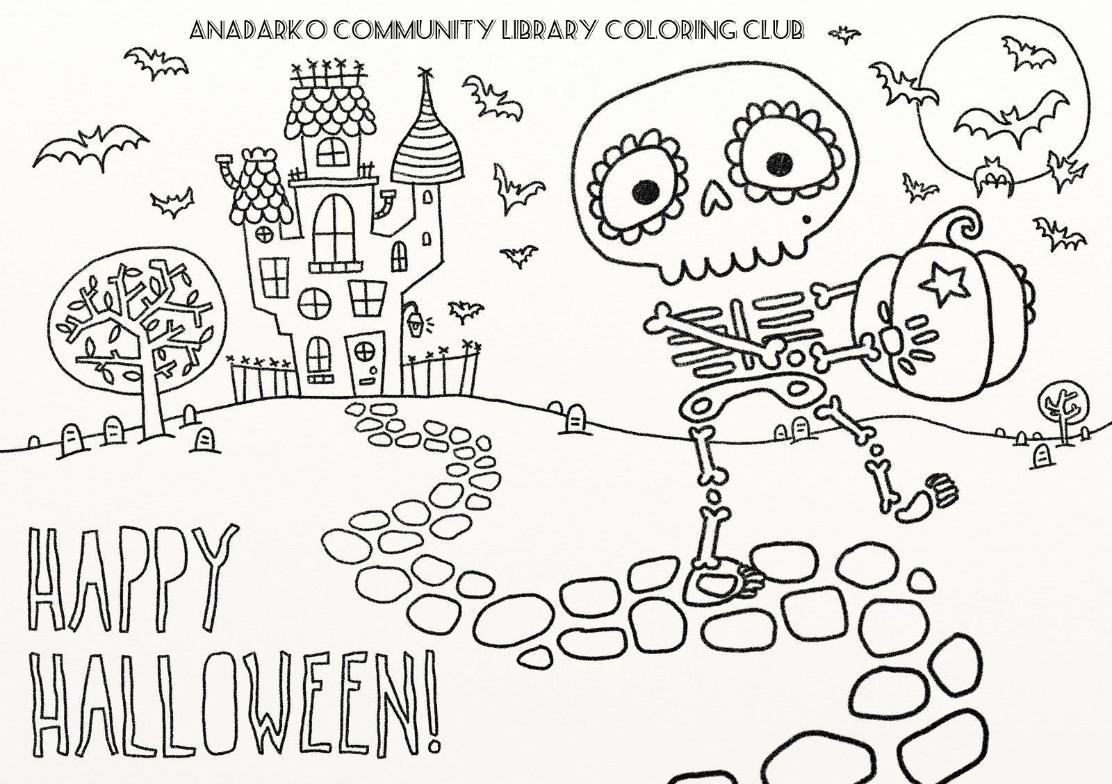 Halloween Ausmalbilder Skelett : Little Spooky Coloring Club Pinterest