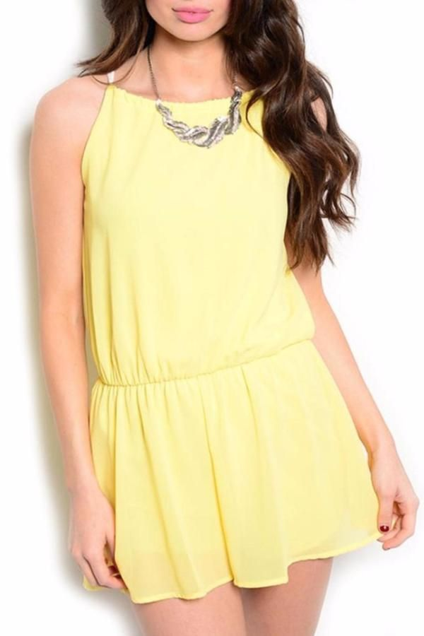 $39, Yellow Playsuit: Yellow Girly Romper. Sold by shoptiques.com. Click for more info: https://lookastic.com/women/shop_items/260638/redirect