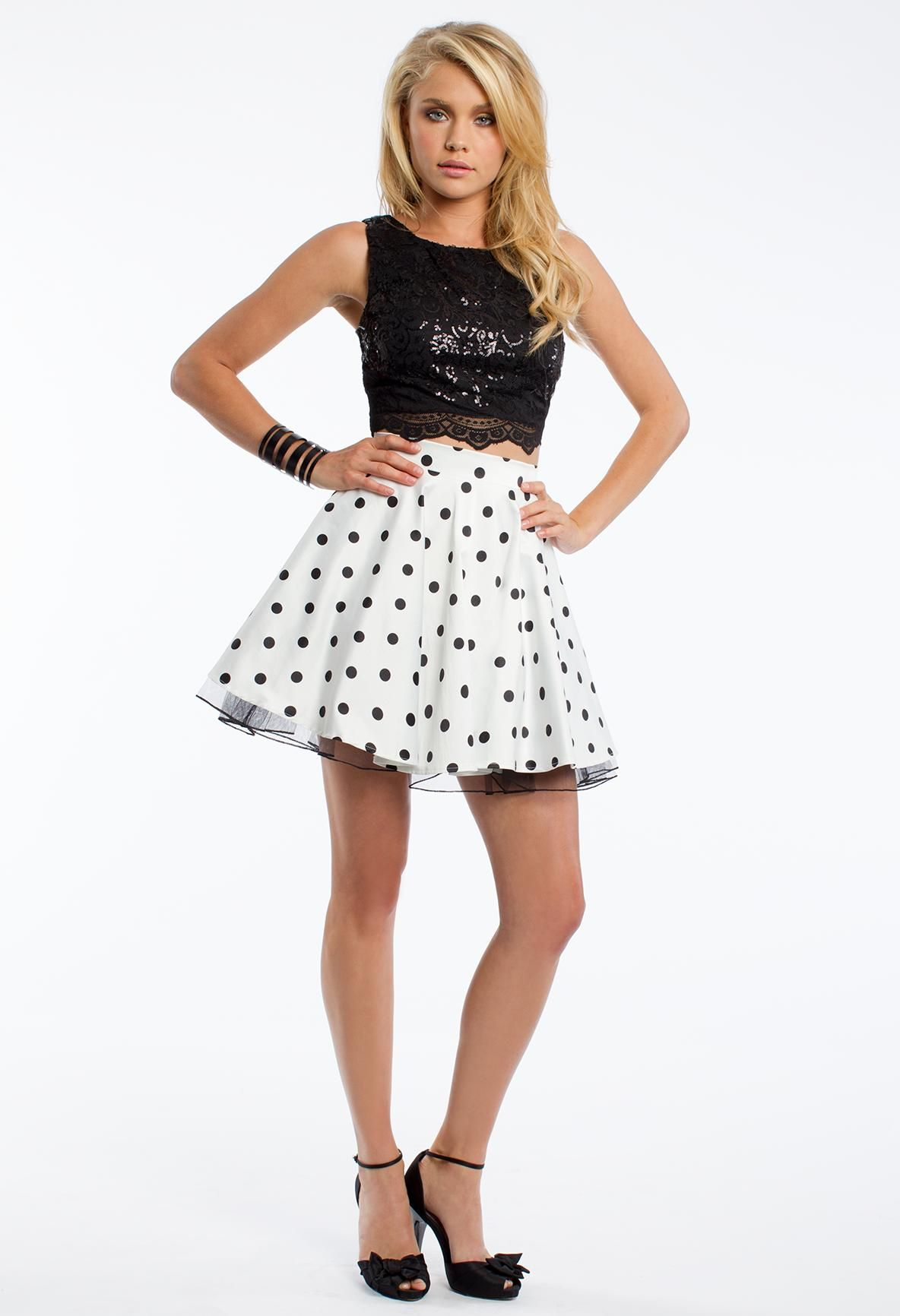 Two-Piece Polka-dot Prom Dress - Coming Soon to CLV.com - SP16 ...