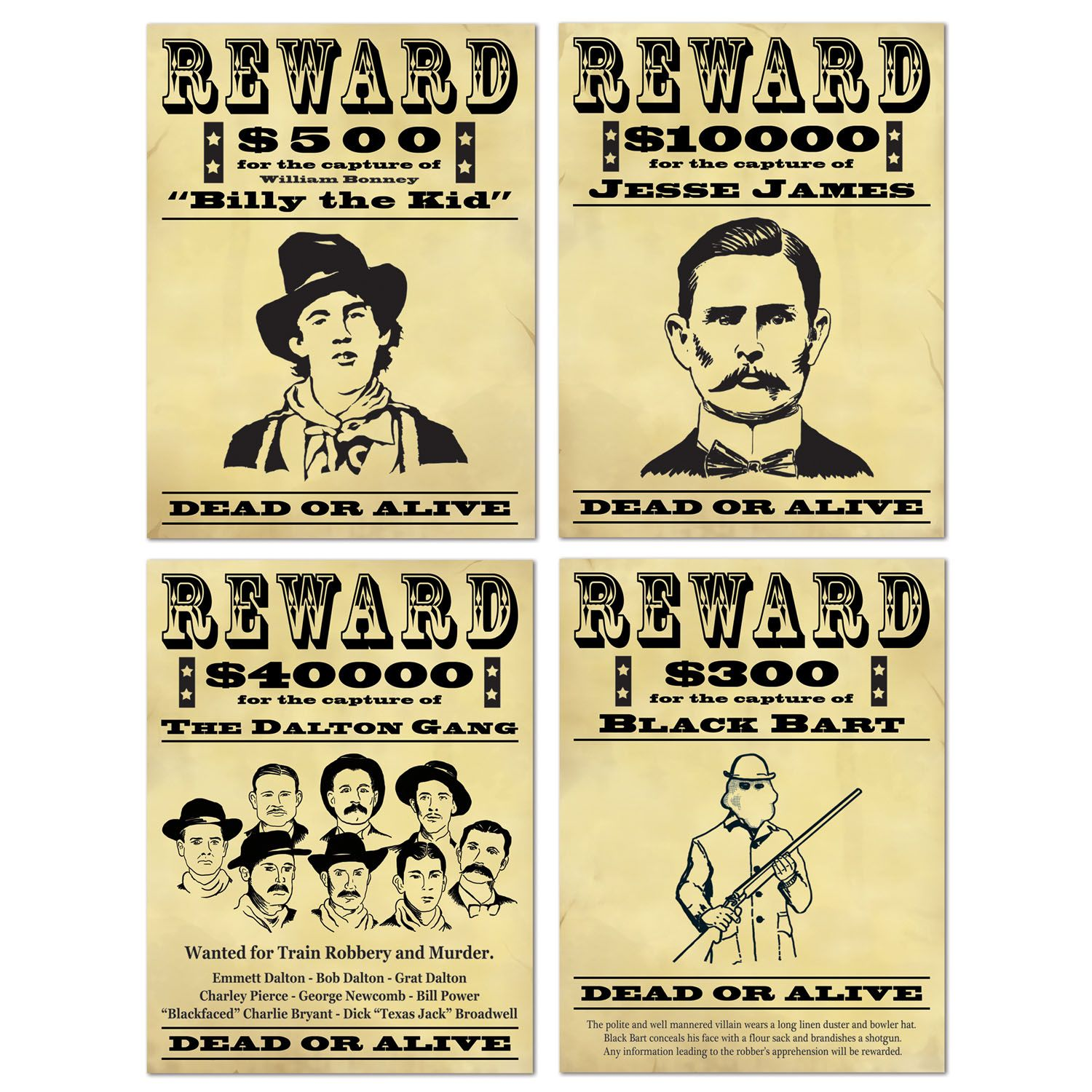 Wanted Dead Or Alive Sign Cutouts 4 Use These Wanted