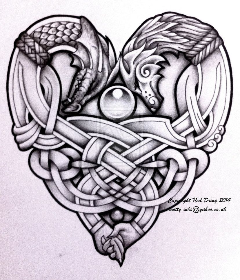 embracing wolf and dragon tattoo design | Arte Celta | Pinterest ...