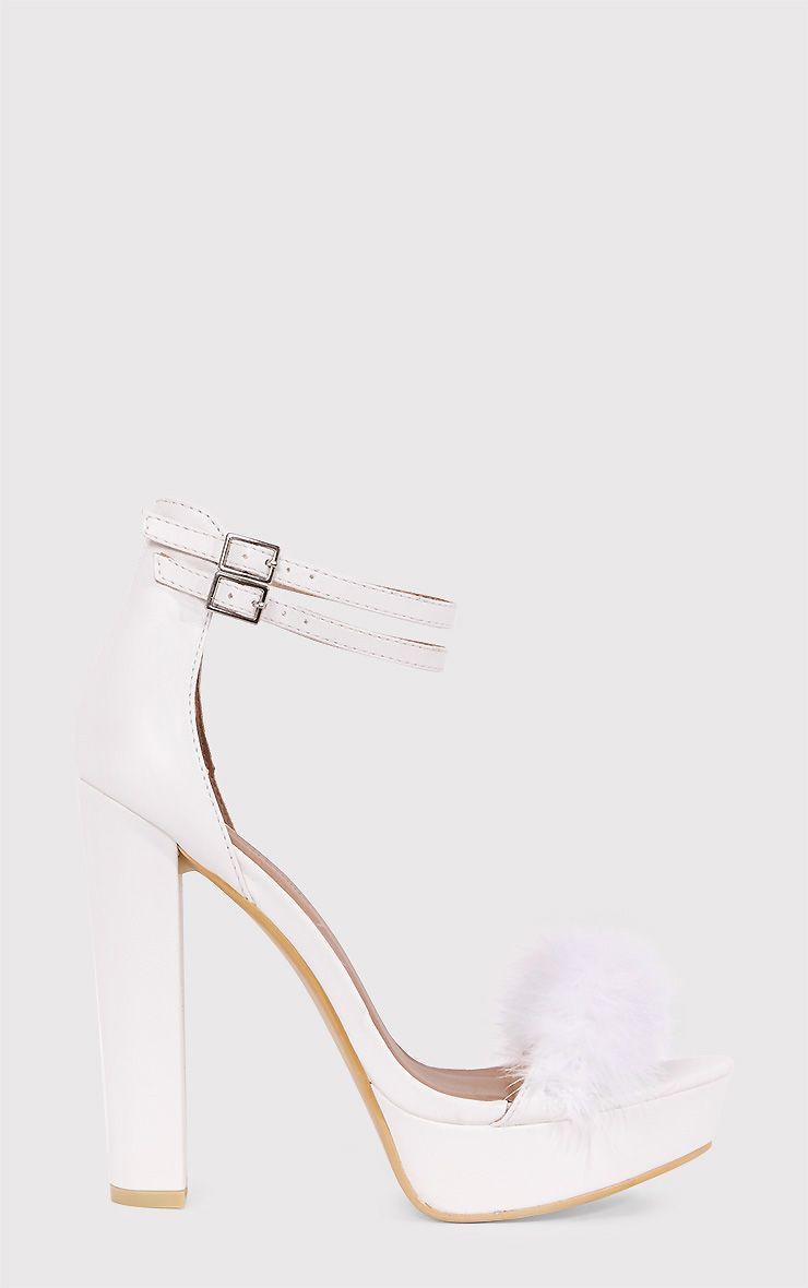 aa1d4af20 Shea White Fluffy PU Platform Sandals | Shoes & Polyvore | Heels ...