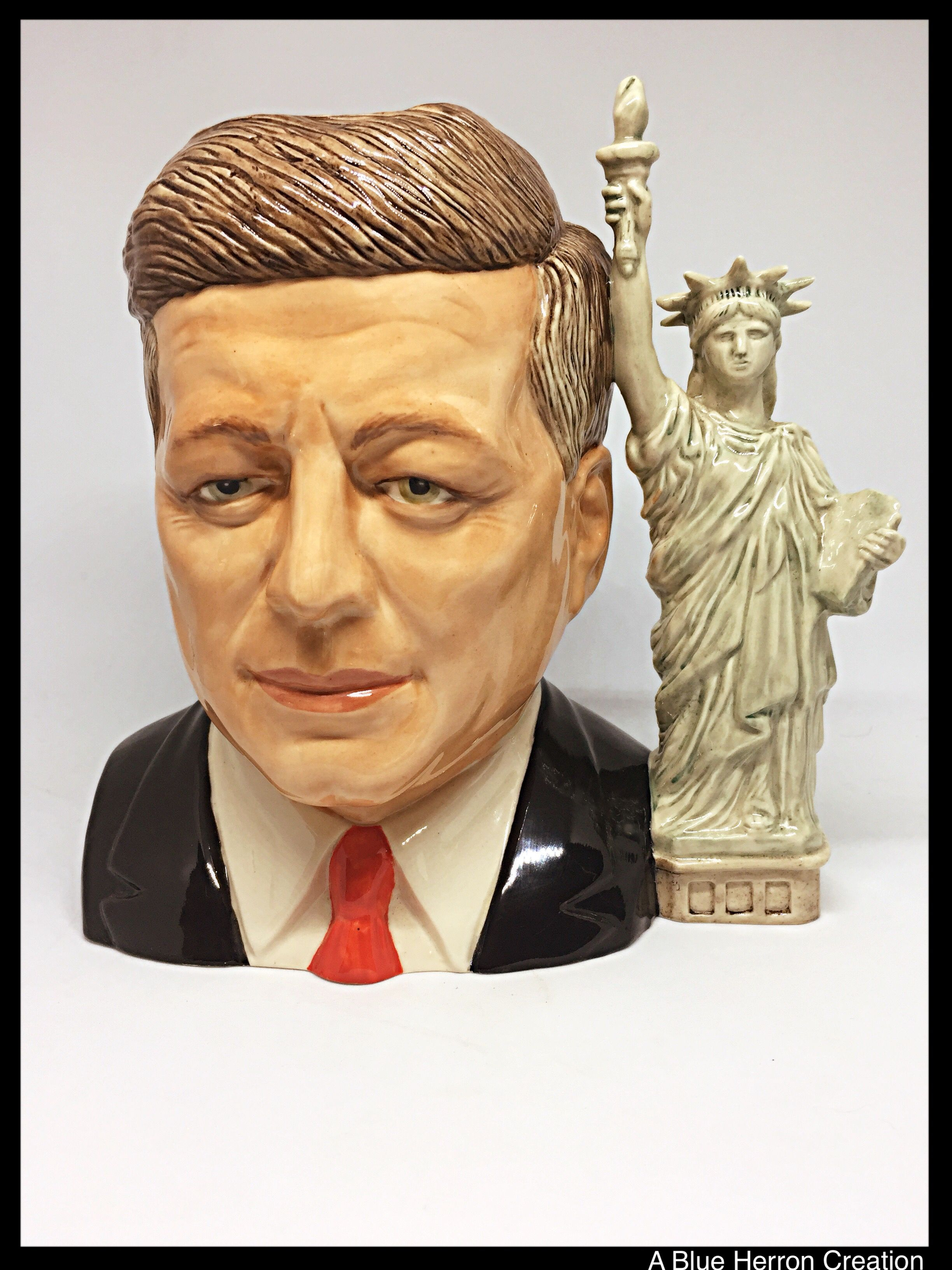 Rare John F Kennedy Limited Edition Porcelain Character Mug Toby Jug Ray Noble Ceramics Presidential Series Statue Of Liberty Jfk Mug Statue Statue Of Liberty Vintage Collection