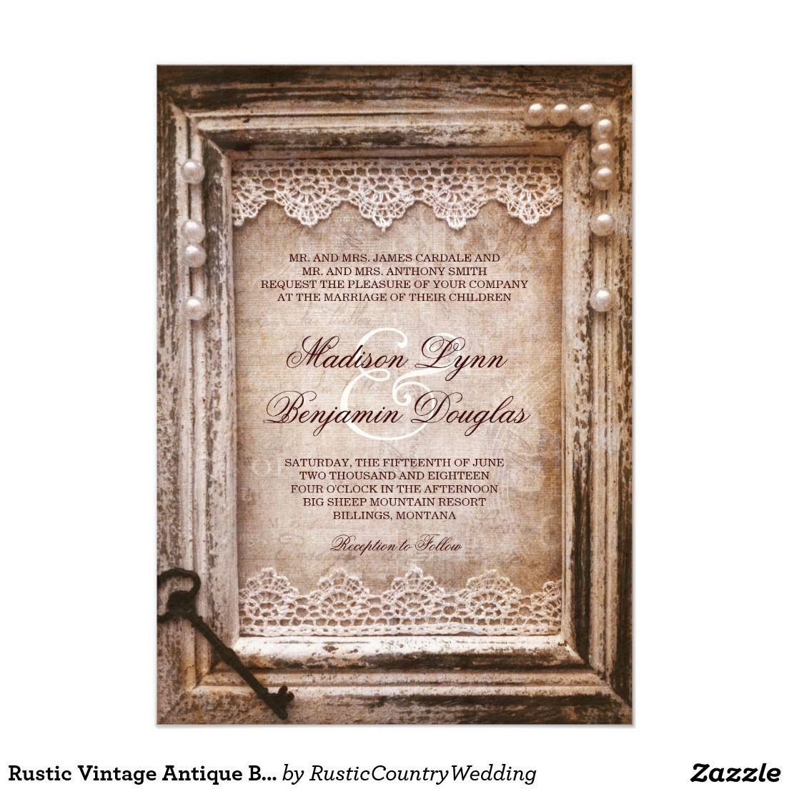 Rustic Vintage Antique Brown Frame Wedding Invites | Vintage ...