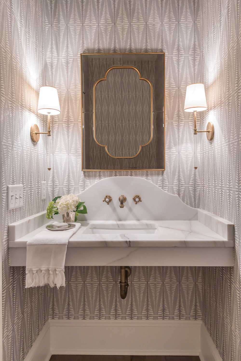 2 Vanities For Master With Shaped Marble And Wall Faucet Luxury
