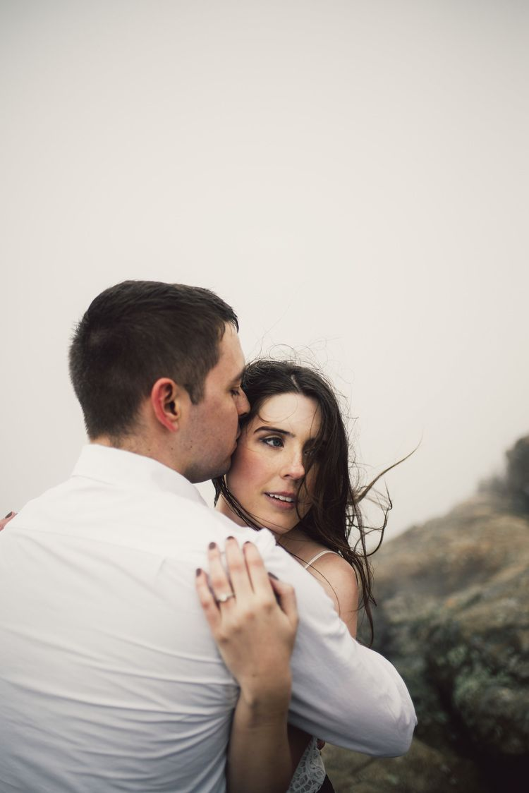 Windy Mountain Top and Foggy Hike Engagement Photos by White Sails