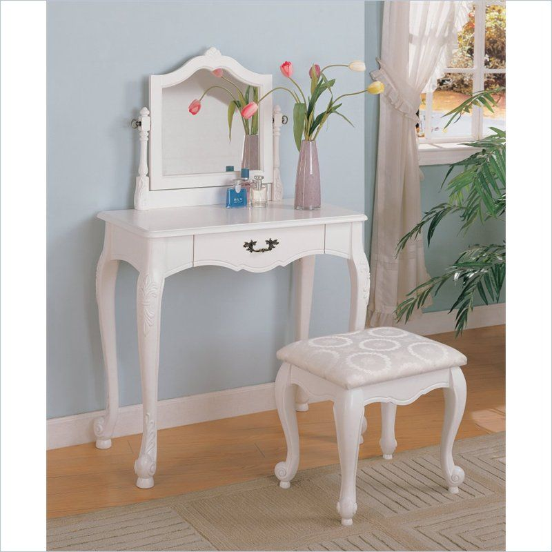 Coaster Wood Makeup Vanity Table Set with Swivel Mirror and Stool in - Bedroom Vanity Table