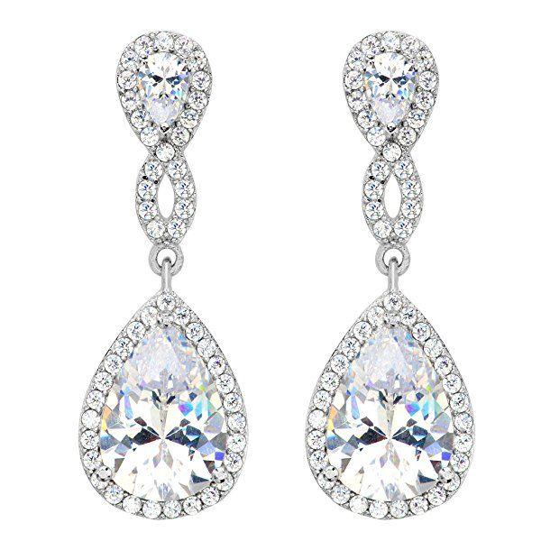 07369a16b Amazon.com: EVER FAITH Women's 925 Sterling Silver Zircon Wedding 8-Shape  Infinity Pierced Dangle Earrings Clear: Jewelry