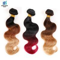 Ombre Brazilian Hair T4/30/27 T1b/33/27 T1b/99j/burgundy Tissage Brazilian Body Wave Kiss Hair Fashion Colored Brazilian Hair