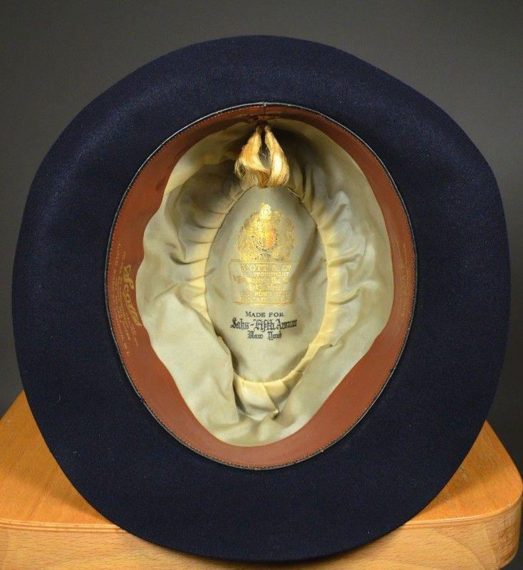 3df4a8e82eb MIDNIGHT BLUE EARLY 20th CENTURY 1920 S FELT FEDORA - SCOTT S UK HAT MAKERS  - 7 1