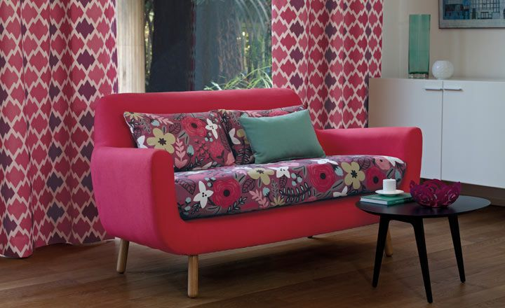 Couch Covering Idea Floral Fabric With Plain Outer