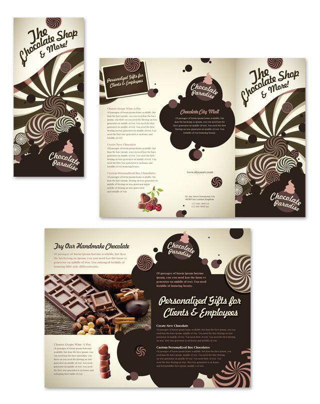 Chocolate Shop Tri Fold Brochure Template Trifold Brochure