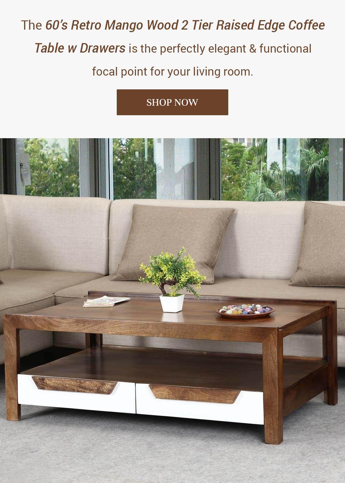 60 S Retro Mango Wood 2 Tier Raised Edge Coffee Table W Drawers In 2021 Coffee Table Iron Coffee Table Coffee Table With Storage [ 1681 x 1200 Pixel ]