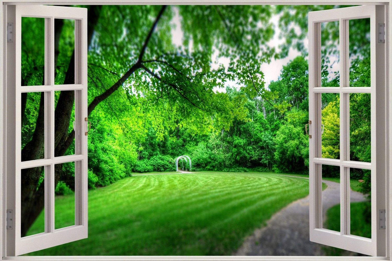 3D Fantasy Flower Garden Window View Wall Art Sticker Livingroom Bedroom Decor