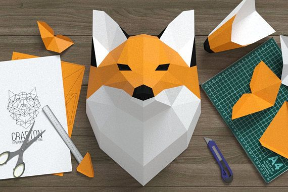 Fox Head Fox Paper Fox Origami Fox Wall Hanging Papercraft