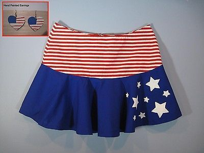 Handmade Skirt and Earrings Patriotic Fourth of July Stars Plus 1X