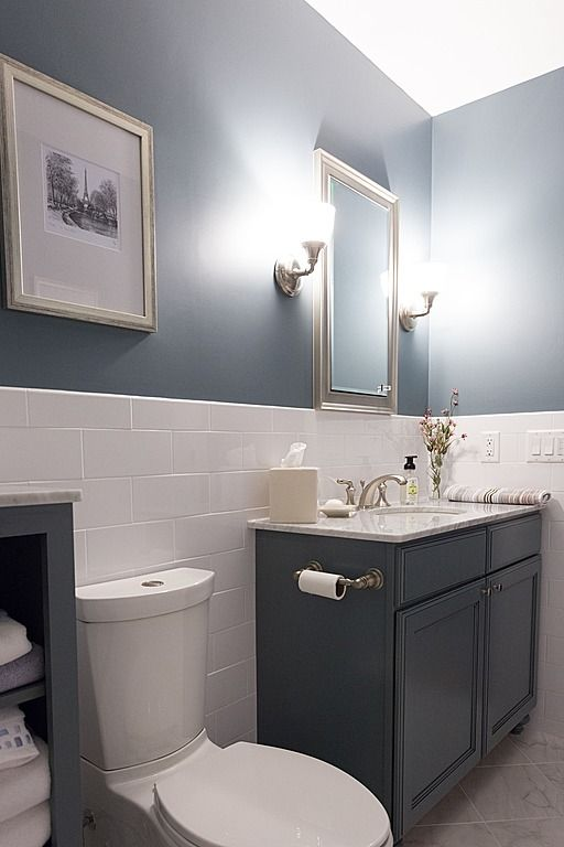 Contemporary Full Bathroom - half wall with tile ...