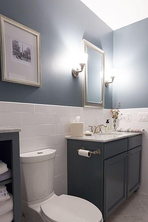 Contemporary Full Bathroom Half Wall With Tile Bathroom Design