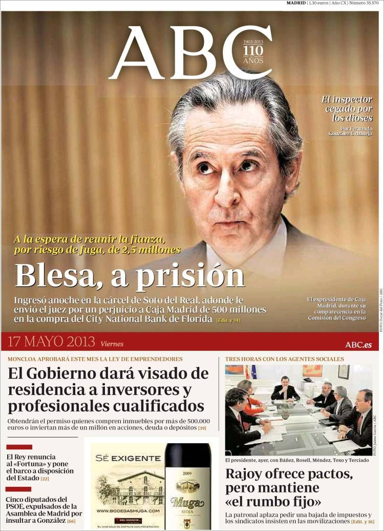 Los Titulares y Portadas de Noticias Destacadas Españolas del 17 de Mayo de 2013 del Diario ABC ¿Que le parecio esta Portada de este Diario Español?