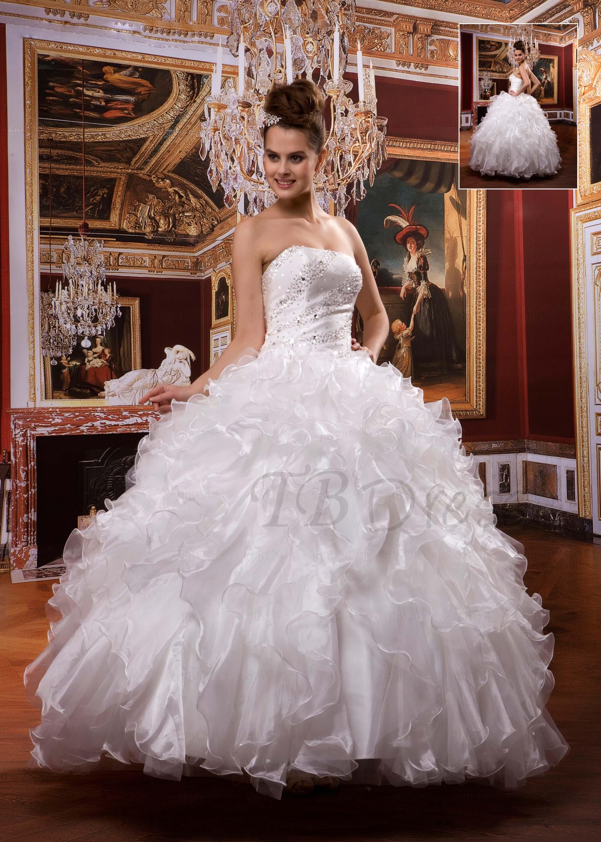 Awesome Ball Gown Sleeveless Floor-Length Pleats Wedding Dress ...