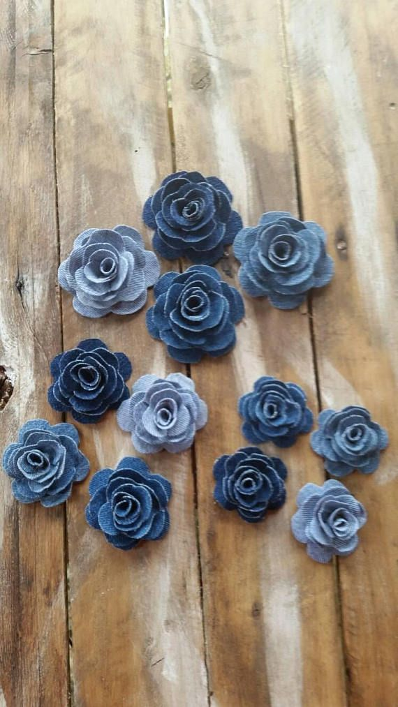 Denim Flower, Denim Rose, Burlap and Denim Flower, Country Wedding Flower, Cake Decorations, DIY Hair Accessory, Blue Jean Flower