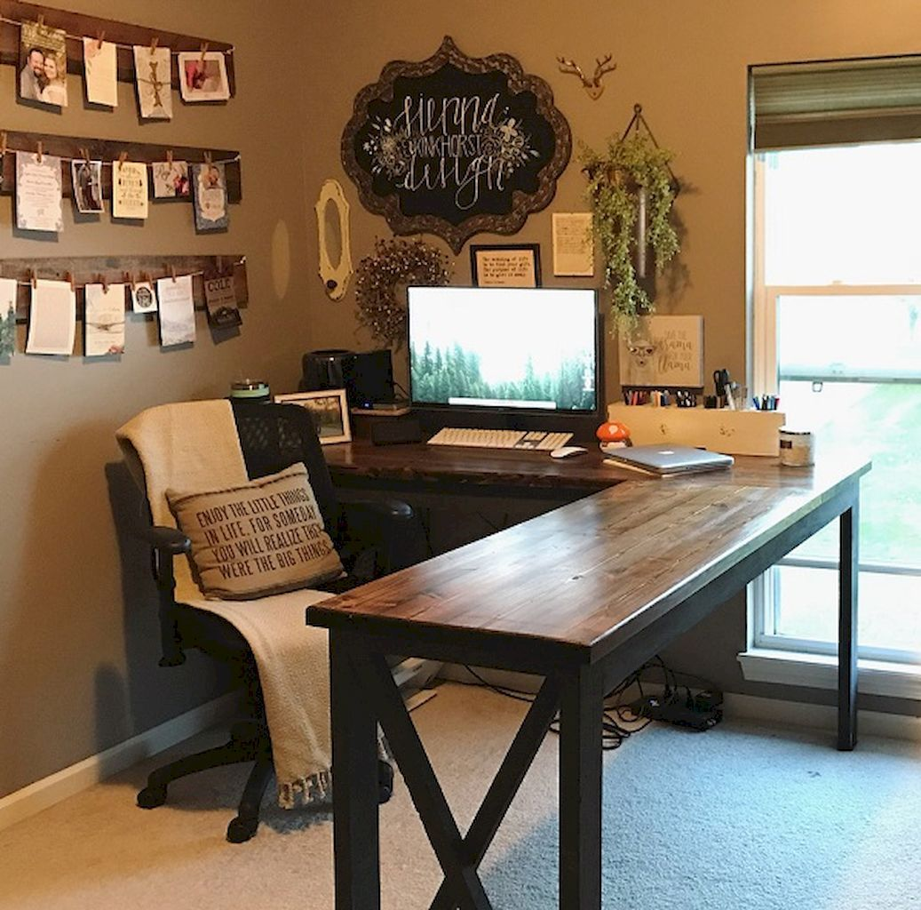 Decorating Home Office in Farmhouse Style | Elonahome.com