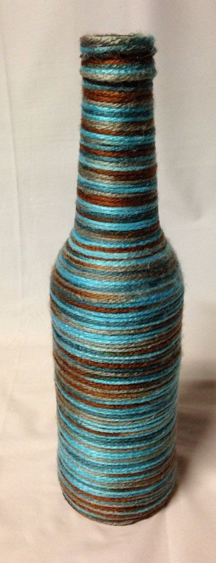 Yarn Wrapped Beer Bottle Vase. Recycled di RandomCraftsBySundee
