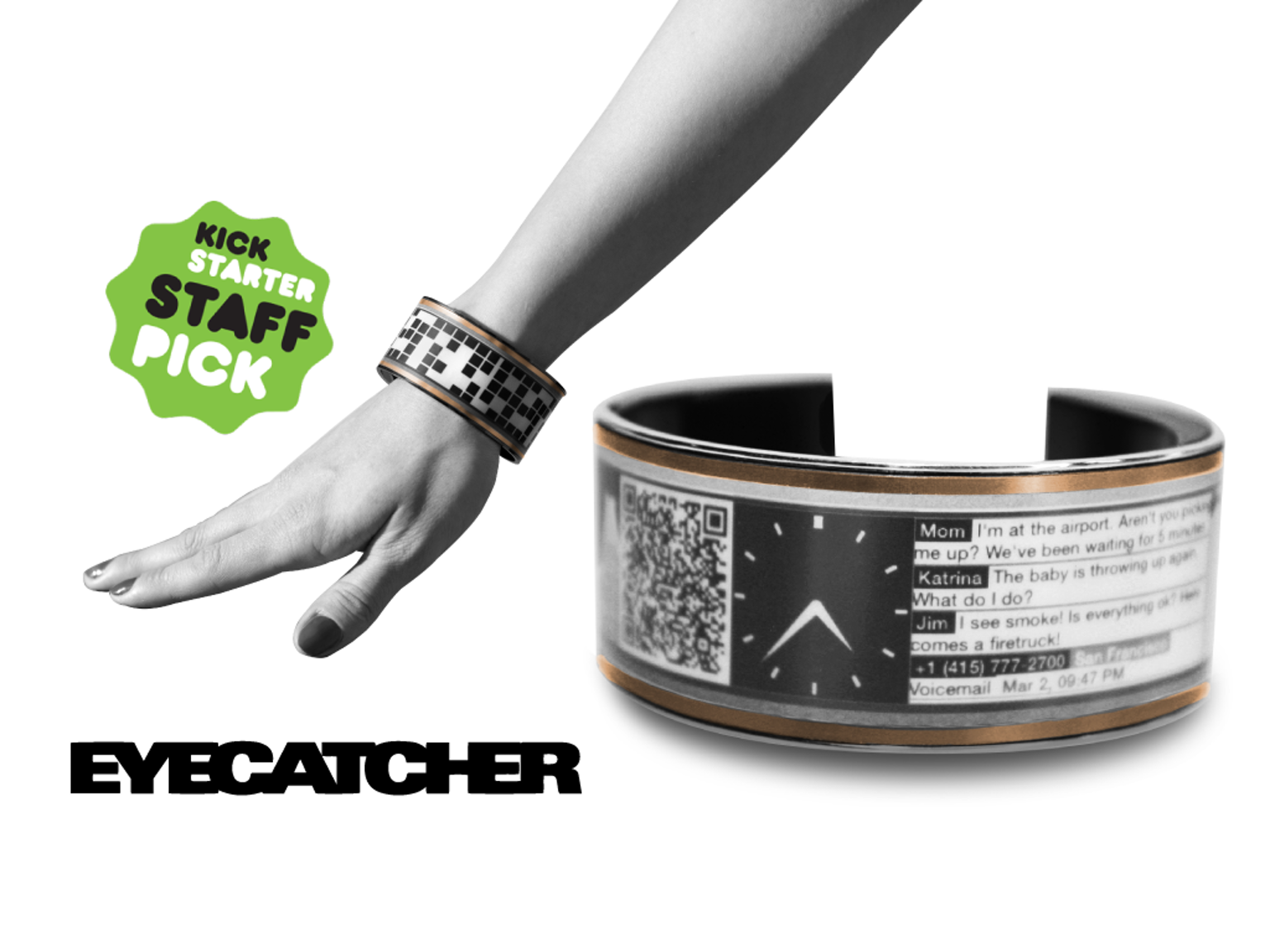 A smart bracelet that fuses art, fashion and technology by displaying custom images, slideshows, app-notifications and breaking news.