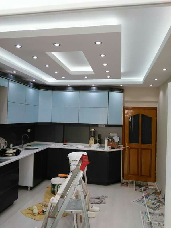 Kitchen Gypsum Ceiling Design belle combinaison de ruban led et spots led encastres gypsum design gypsum ceiling design