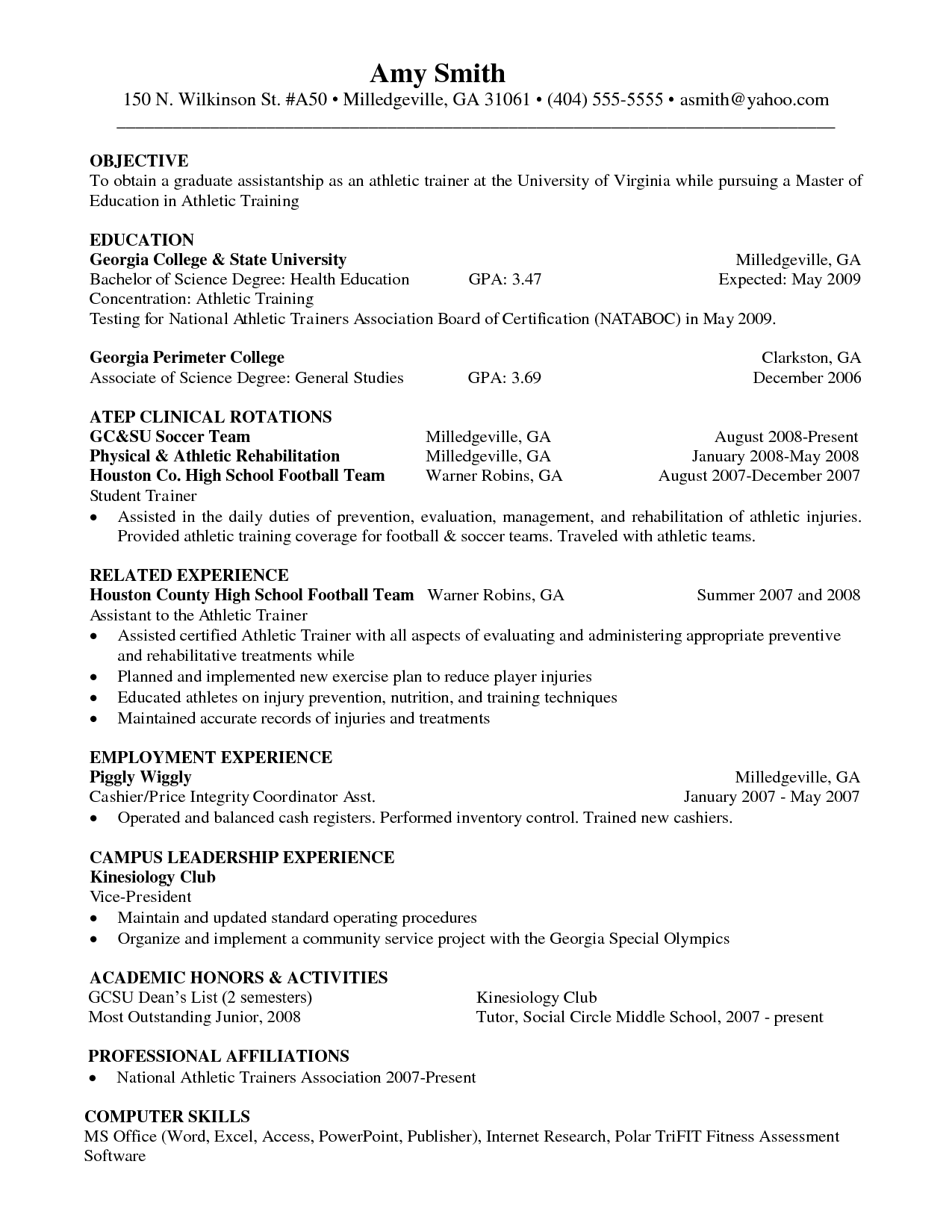 athletic personal trainer resume sample beginner - Athletic Trainer Resume