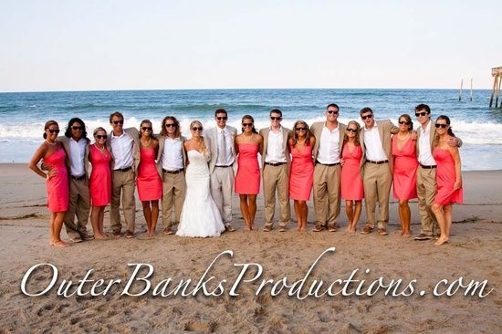 Navy And Coral Beach Wedding Navy Blazers Coral Bridesmaids With Different Style Dresses Beach Beach Wedding Navy Beach Wedding Coral Outer Banks Wedding