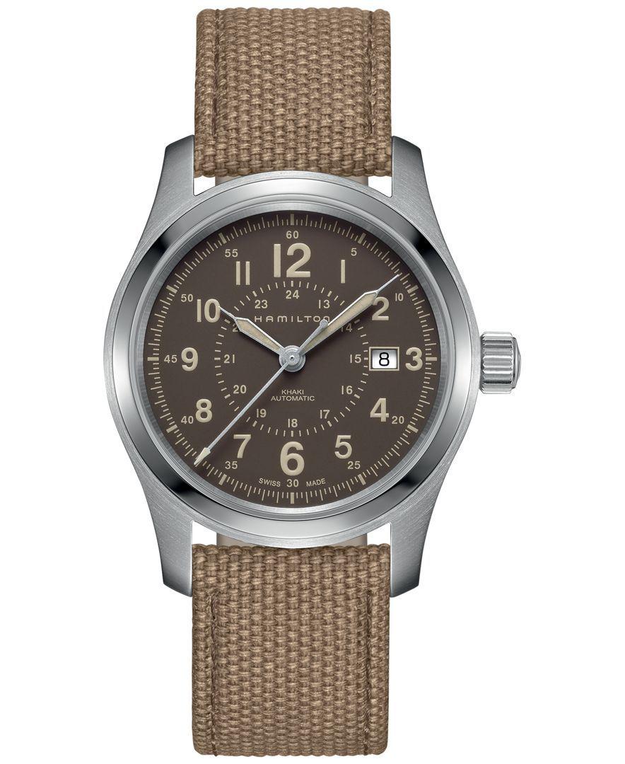 Hamilton Men's Swiss Automatic Broadway Beige Canvas Strap Watch 42mm H70605993