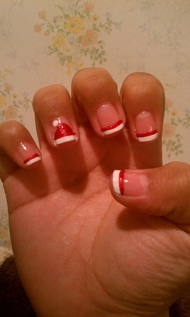 Trying to find something cute but *easy* to do for the girls. Nails are not  my thing! - Pin By Sondra Laue On Christmas Pinterest Santa Hat Nails, Xmas