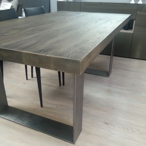 metal leg table rustik wood white modern rustic wash dining linea legs modena solid linear