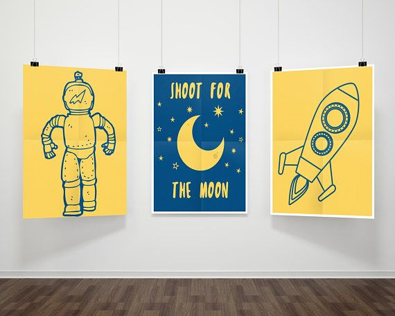 Outer Space Nursery Prints| Astronaut Decor| Rocketship Nursery| Set ...