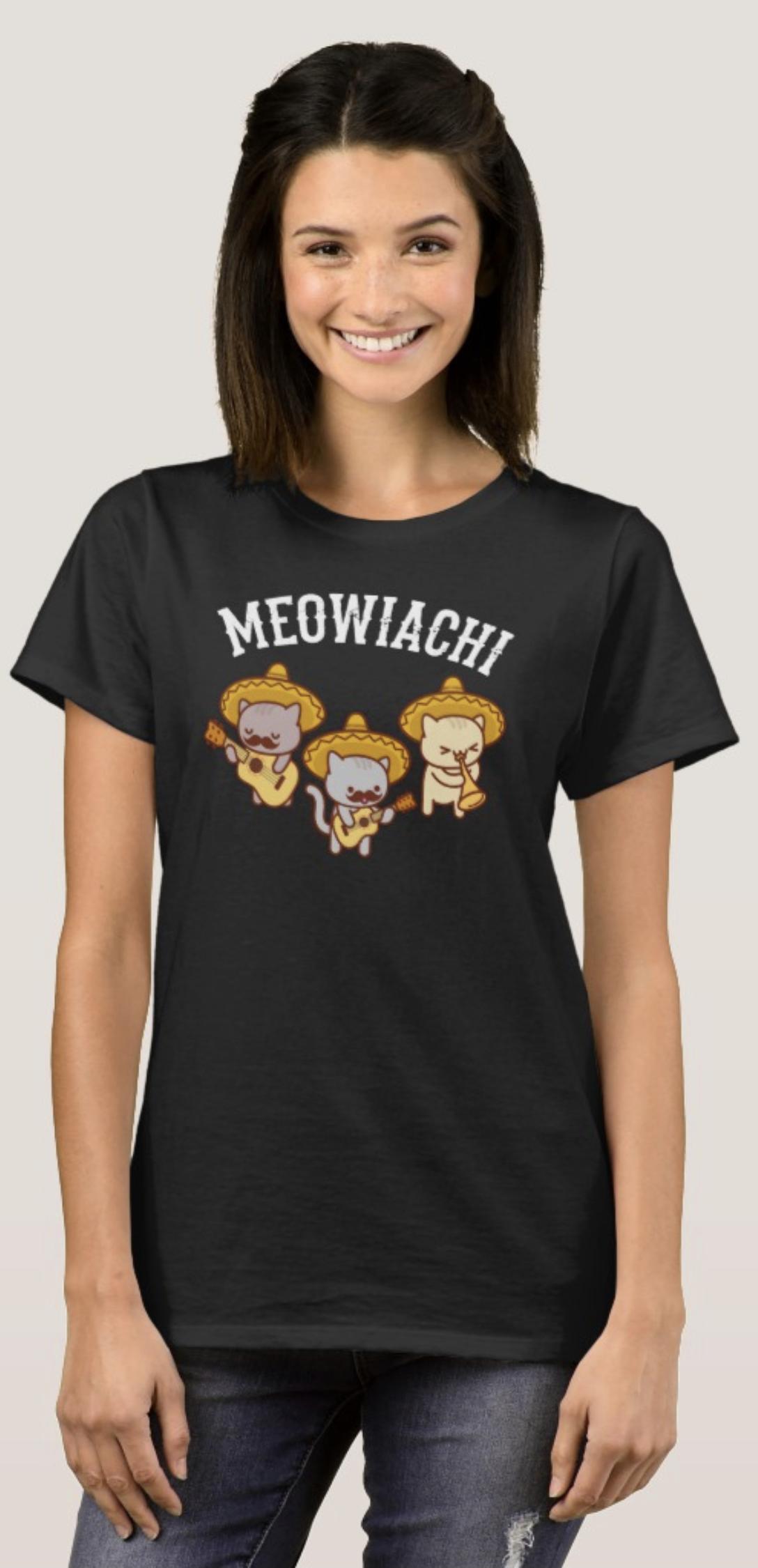 "Funny Cat Tshirt ""MEOWIACHI"" Mariachi Trio Band From"