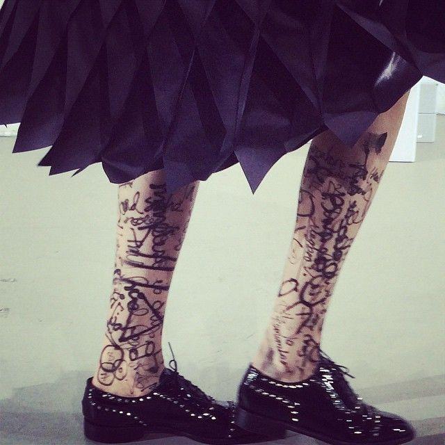 Graffitis on legs at Junya Watanabe