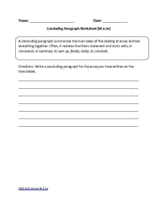 7th Grade Writing Worksheets or Language Arts Mon Core ...
