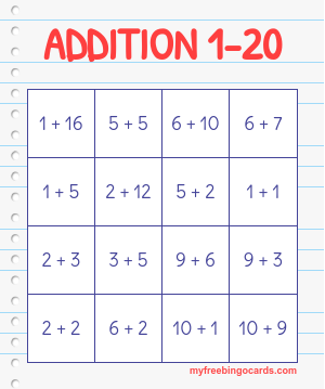 image regarding Addition Bingo Printable named math bingo playing cards bingo