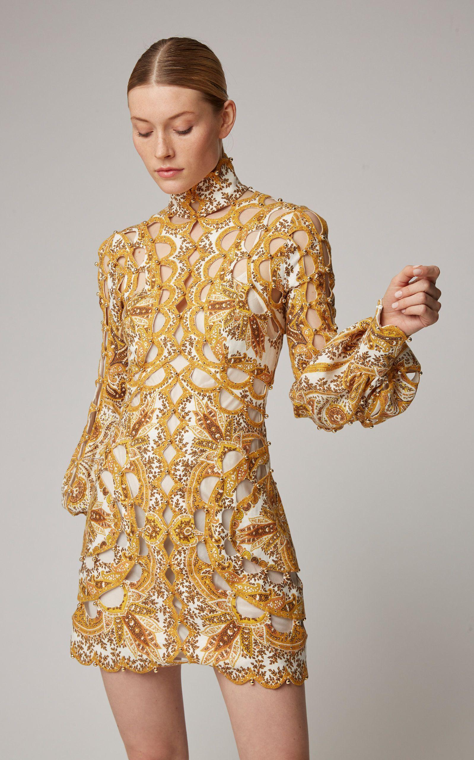 23a991cba5 Zippy Scallop Beaded Silk And Linen-Blend Mini Dress in 2019 ...