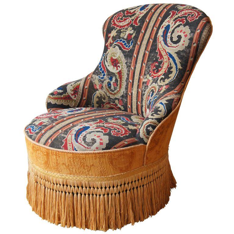 Edwardian needlepoint slipper chair