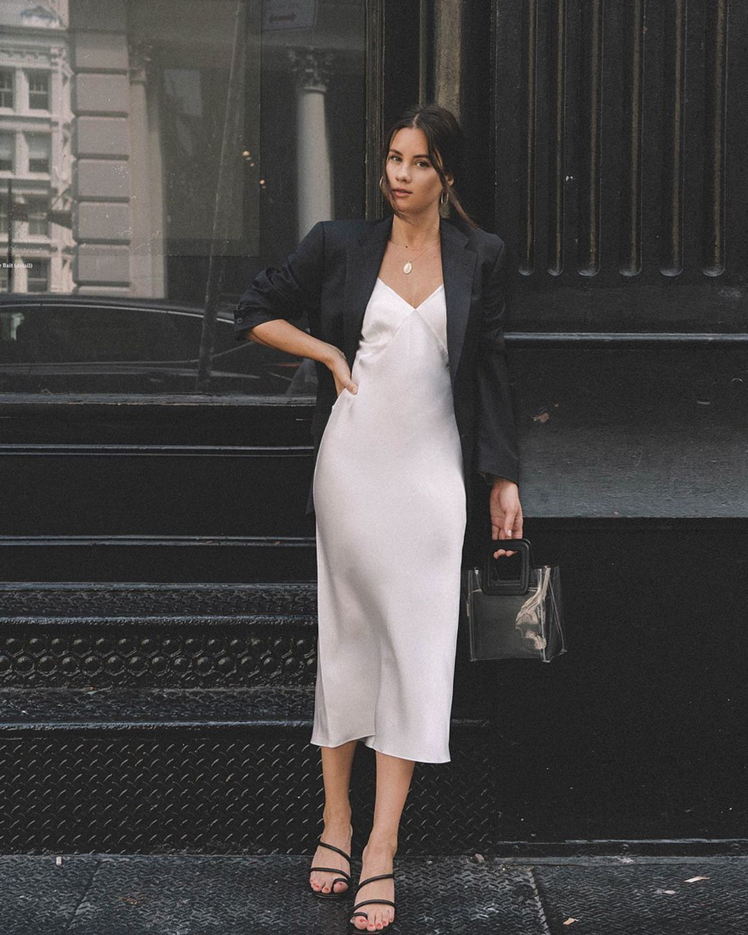 "Sarah Butler on Instagram: ""Slip dress and blazer because it's ..."