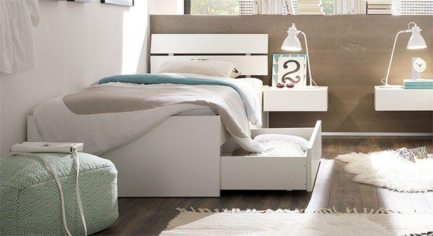 Einzelbett In Z B 100x200 Cm Mit Schubladen In Weiss Mocuba Bettdecke Einzelbett Bett Ideen