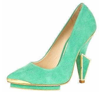 TOPSHOP UNIQUE GREEN LEATHER STATEMENT CUBIC HEEL RUNWAY COURTS 8 10.5 41 RARE