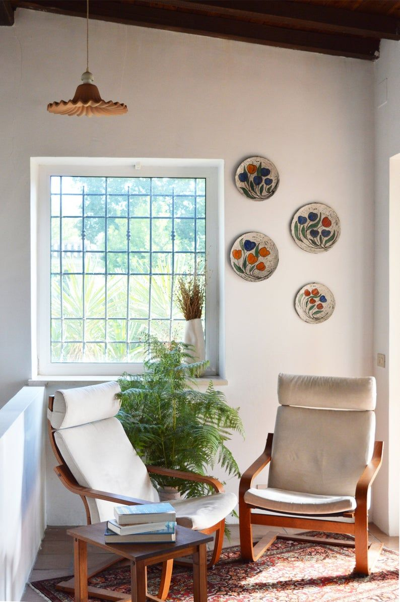 Looking For Wall Decor Ideas This Set Of 4 Raku Tulips Plates Can Be Hanged On A Wall E Wall Decor Design Simple Living Room Christmas Decorations Living Room